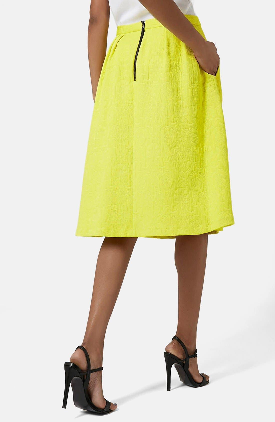 Pleated Jacquard Midi Skirt,                             Alternate thumbnail 2, color,                             Yellow