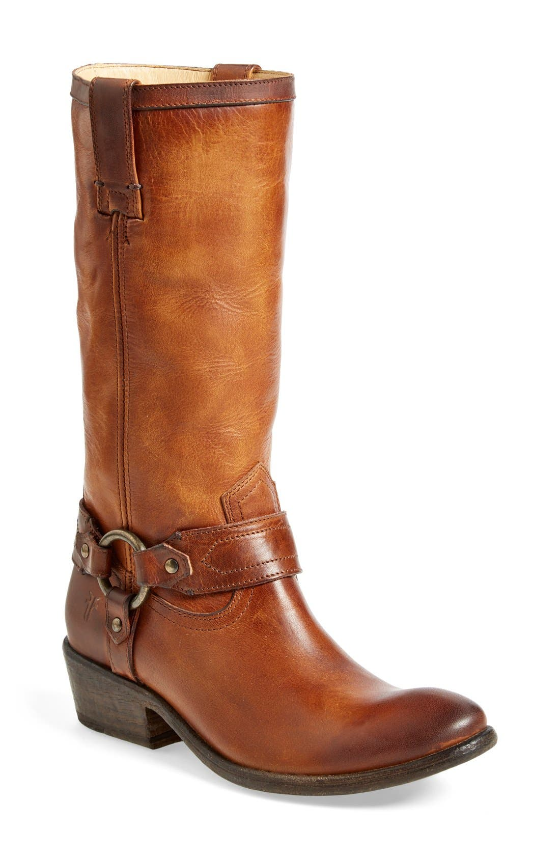 'Carson Harness' Western Mid Calf Riding Boot,                             Main thumbnail 1, color,                             Cognac Leather