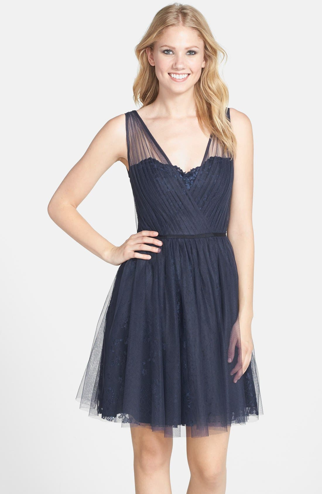Tulle Overlay Lace Fit & Flare Dress,                         Main,                         color, Navy