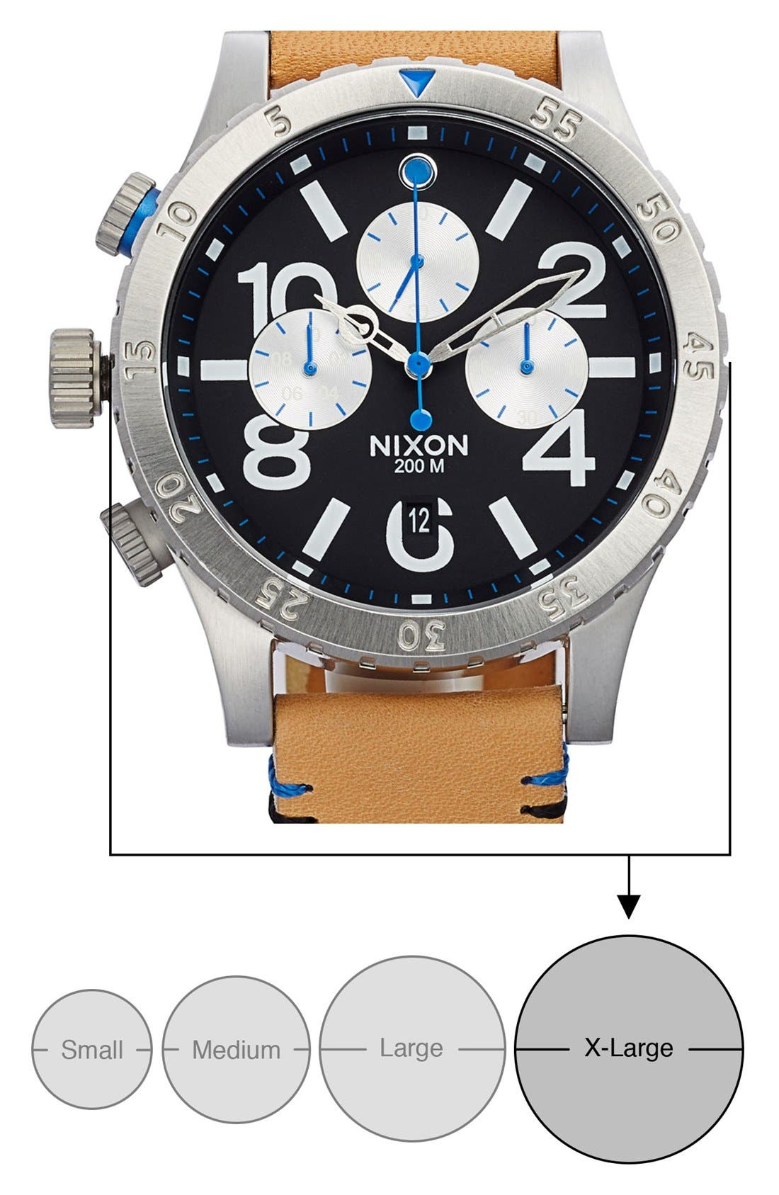 'The 48-20' Chronograph Leather Strap Watch, 48mm,                             Alternate thumbnail 6, color,                             Natural/ Black