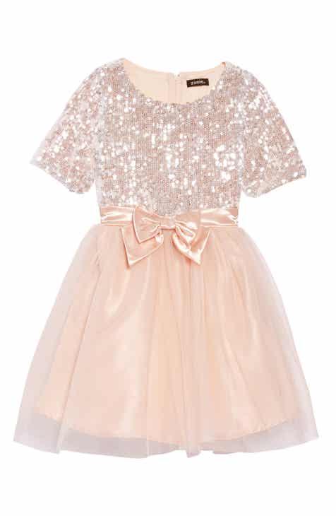 zunie sequin fit flare dress toddler girls little girls big girls