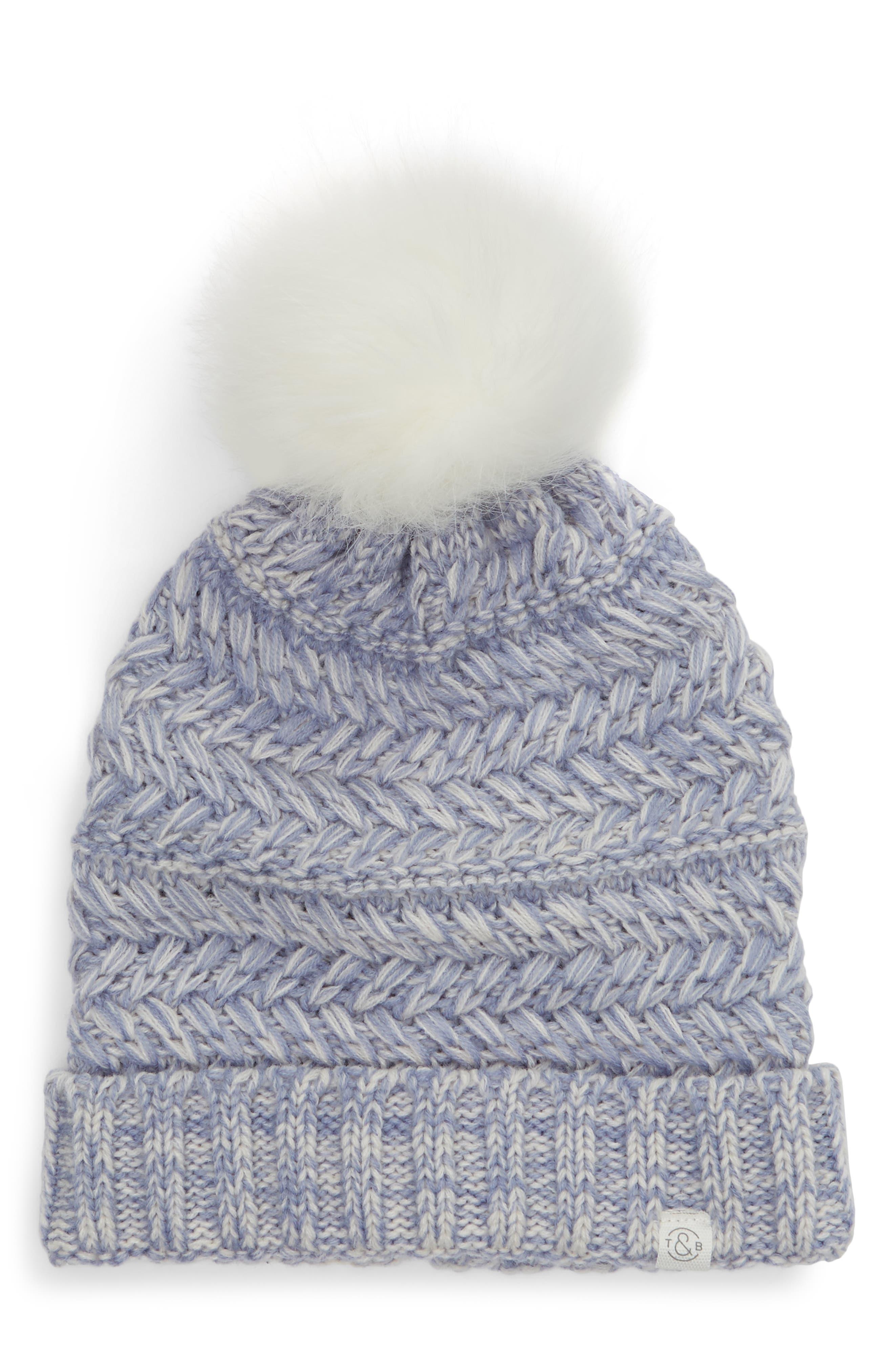 6366ebff85e48f ... spain treasure bond cable knit beanie with faux fur pom 892af 50c2e