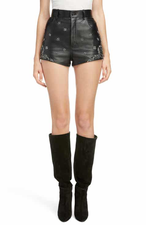 Saint Laurent Embellished Paisley Leather Shorts by SAINT LAURENT