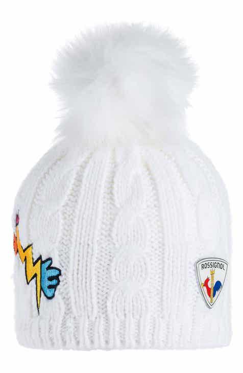 Rossignol Yurock Faux Fur Pom Cable Knit Ski Beanie 819827b3f3d3
