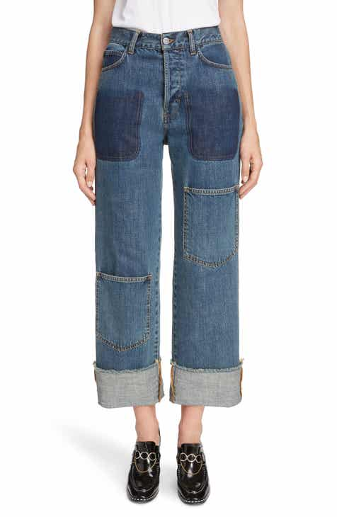 JW Anderson Shaded Pocket Wide Leg Ankle Jeans (Mid Blue) by J.W.ANDERSON