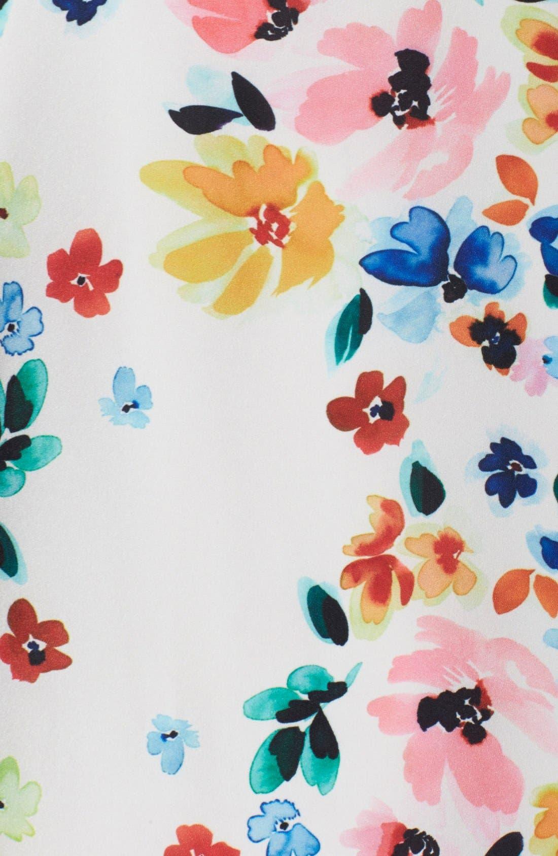 by Cynthia Steffe 'Kayte' Floral Print Shift Dress,                             Alternate thumbnail 4, color,                             Light Cream