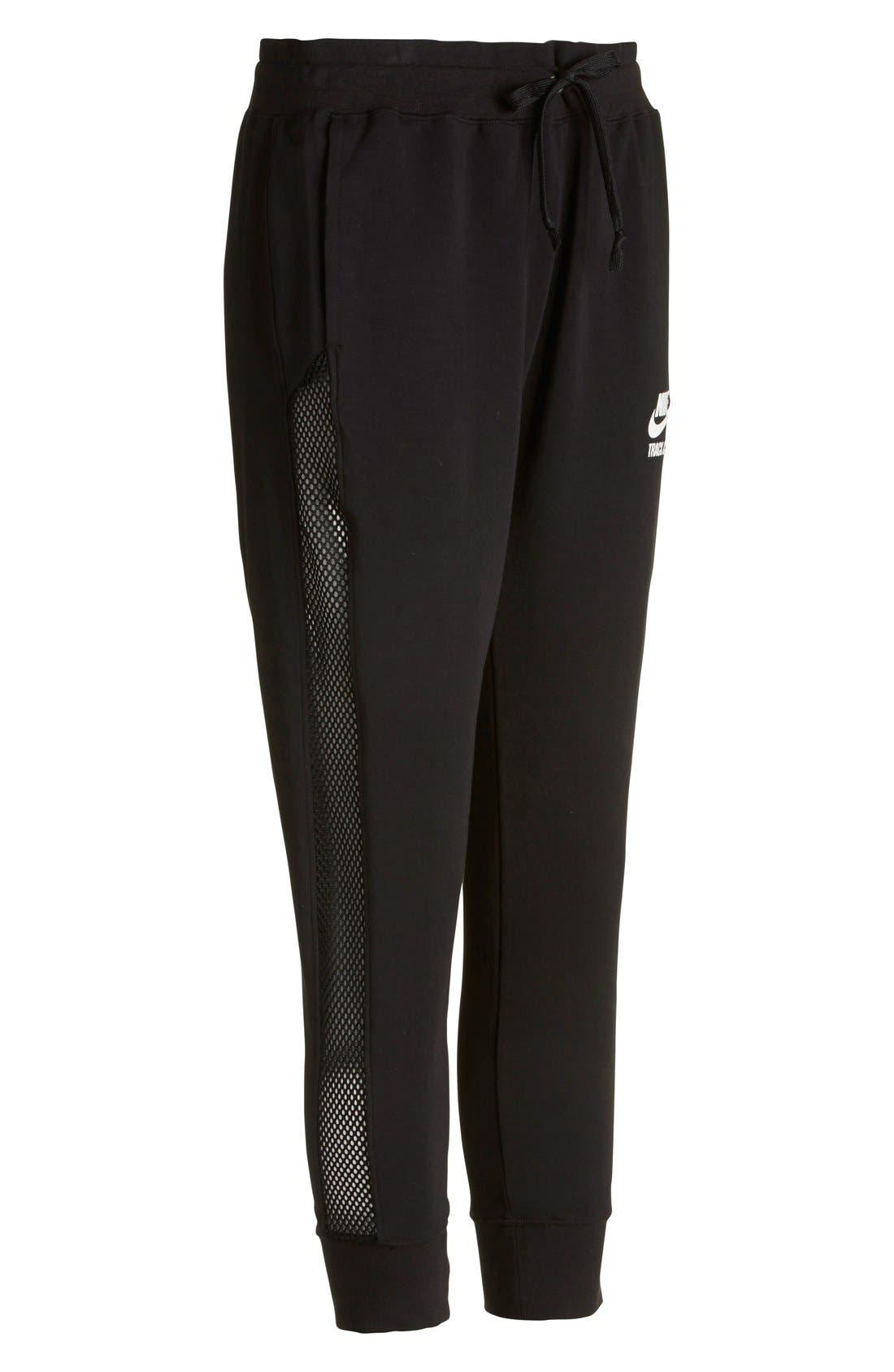 Alternate Image 5  - Nike 'RU Mesh Mix' Cuffed Sweatpants (Women)