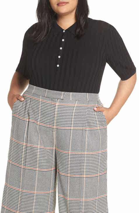 Halogen® x Atlantic-Pacific Ribbed Polo Sweater (Plus Size) (Nordstrom  Exclusive) b0fca29787