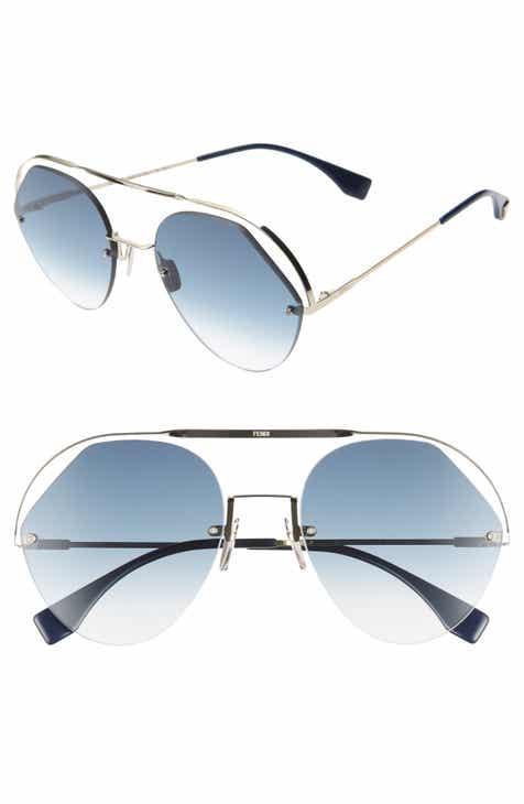 25363ad09bdd Fendi 57mm Rimless Aviator Sunglasses