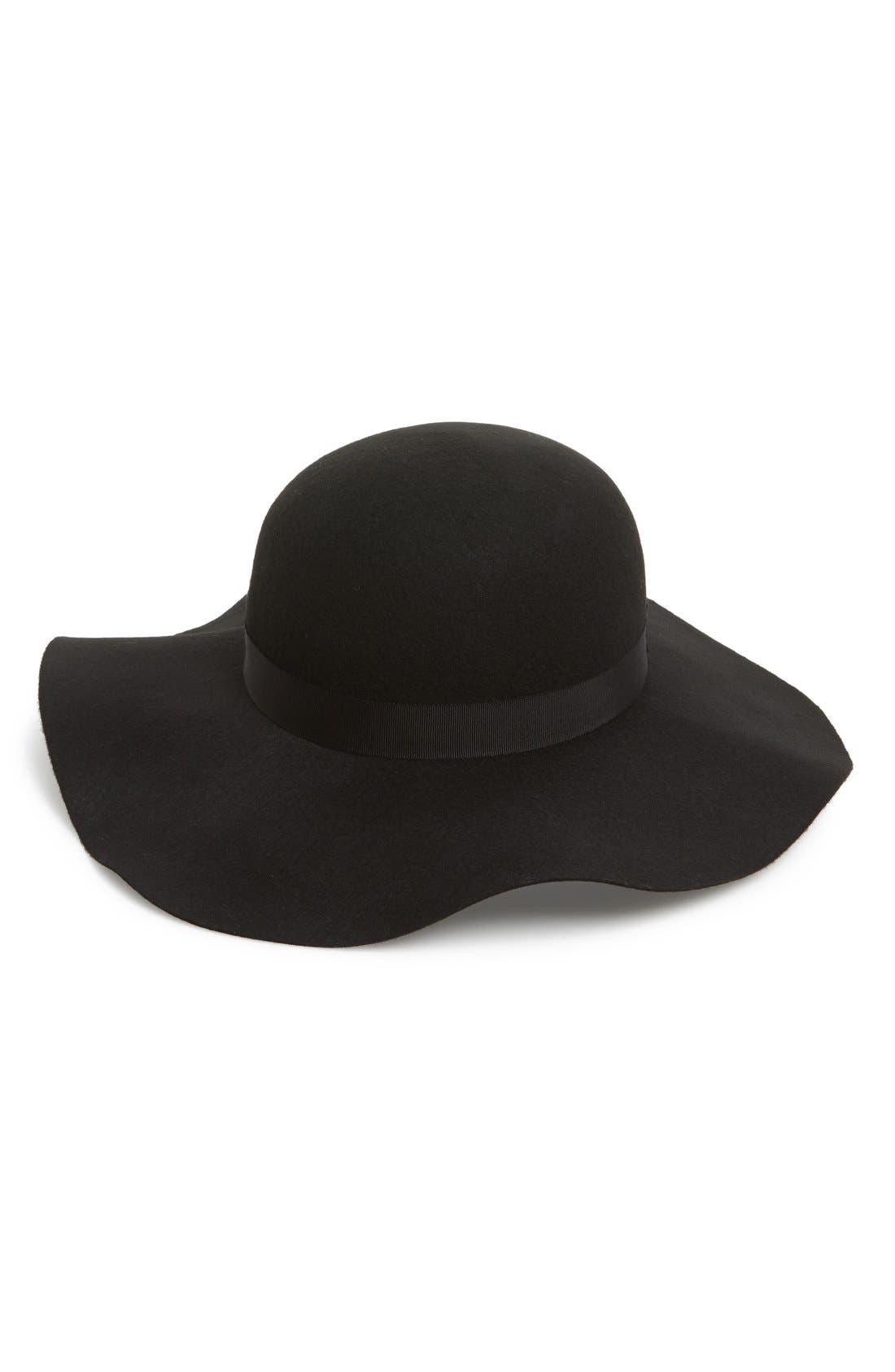 Floppy Felt Hat,                         Main,                         color, Black