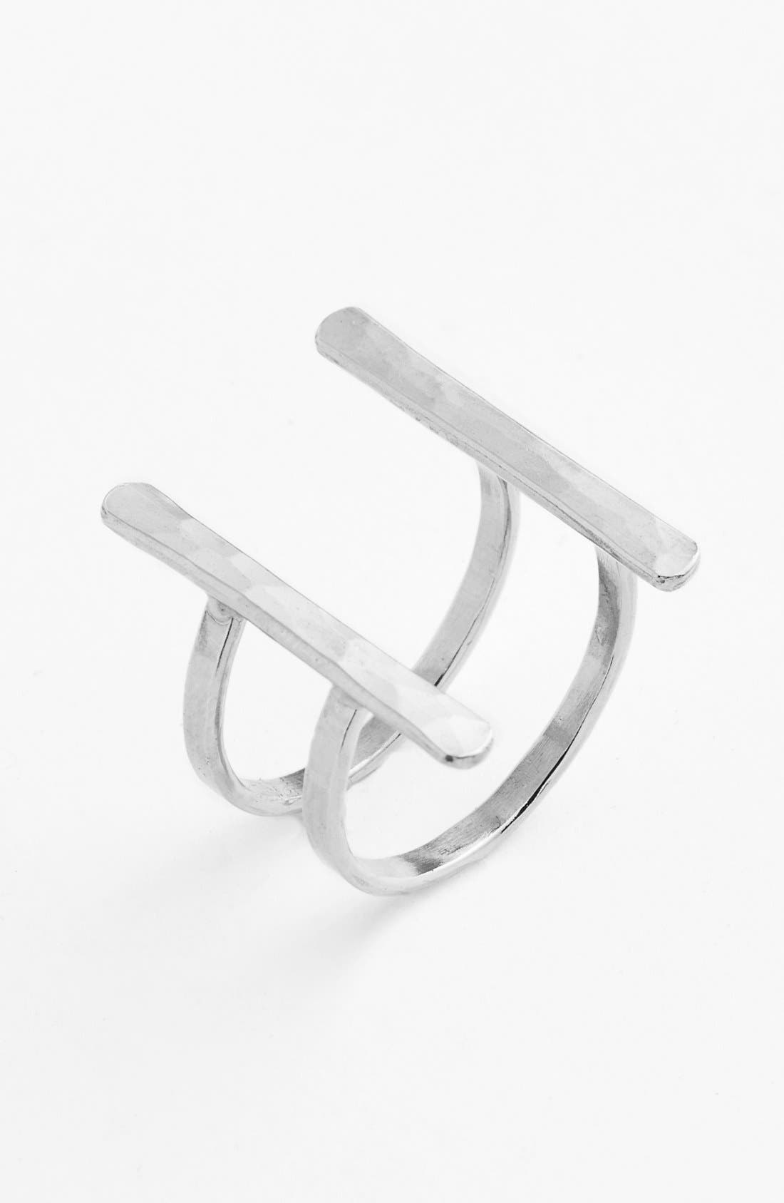 Ija Double Bar Open Ring,                             Main thumbnail 1, color,                             Sterling Silver