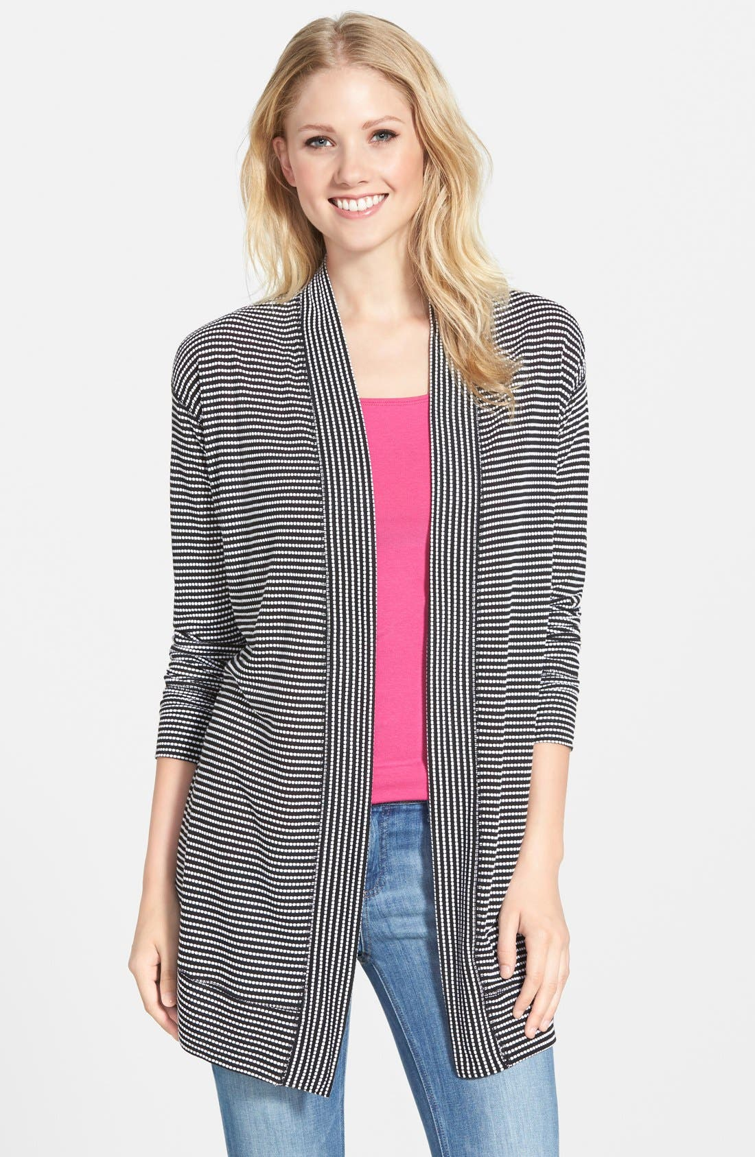 Stripe Long Sleeve Open Front Cardigan,                         Main,                         color, Black- White