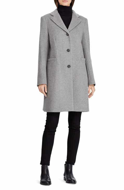 32a1cbf70a54 Lauren Ralph Lauren Wool Blend Reefer Coat (Regular   Petite)