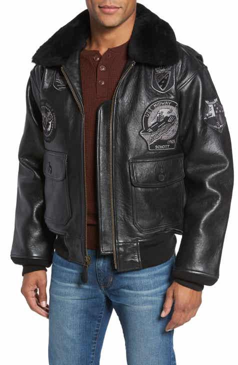 Schott NYC Genuine Shearling Collar G-1 Flight Jacket bb8ad1b7254