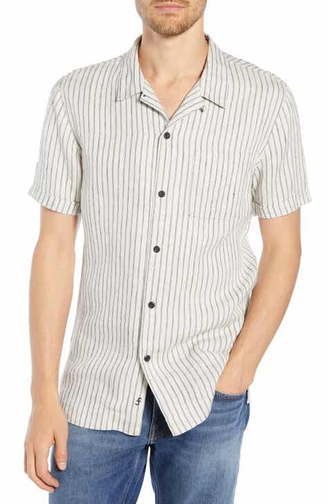 bdce143214687 FRAME Slim Fit Stripe Linen Camp Shirt
