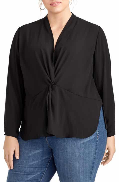 ca6b386e20b24 RACHEL Rachel Roy Vaughn Twist Front Blouse (Plus Size)