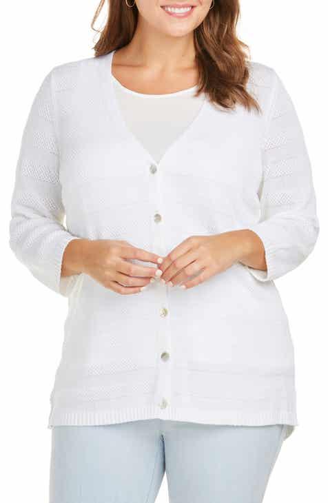 Foxcroft Ella Textured Stripe Cardigan (Plus Size) af5428b60