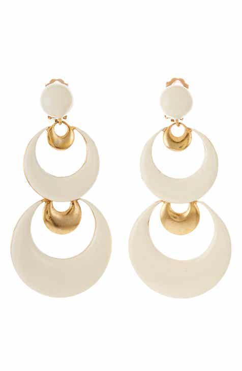 b66e52778e Oscar de la Renta Large Moon Drop Earrings