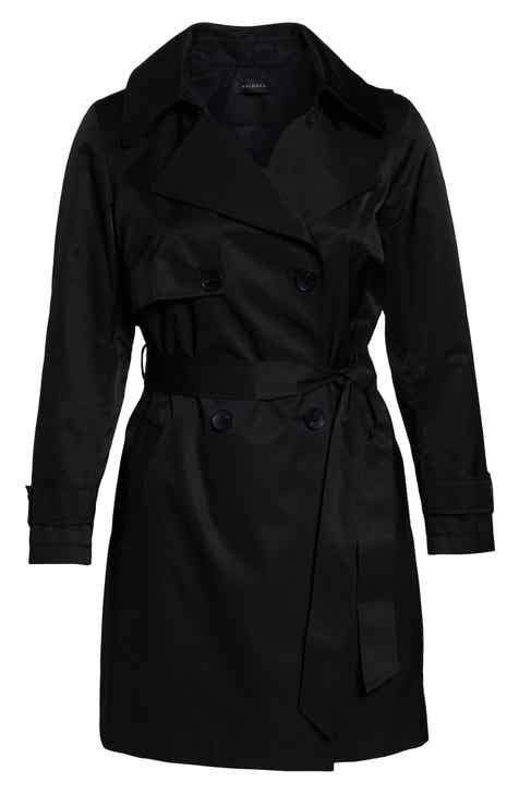 Halogen® Double Breasted Hooded Trench Coat (Plus Size) by HALOGEN