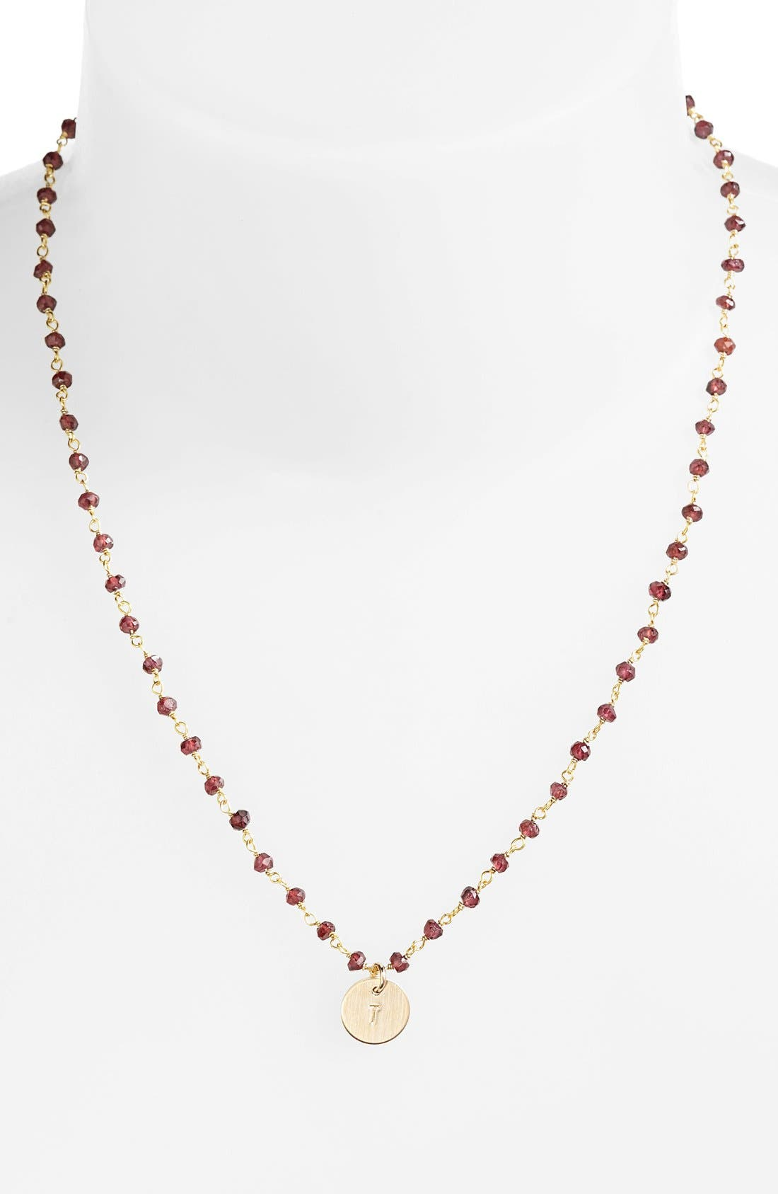 14k-Gold Fill Mini Initial Disc Garnet Chain Necklace,                         Main,                         color, Gold Fill Garnet T