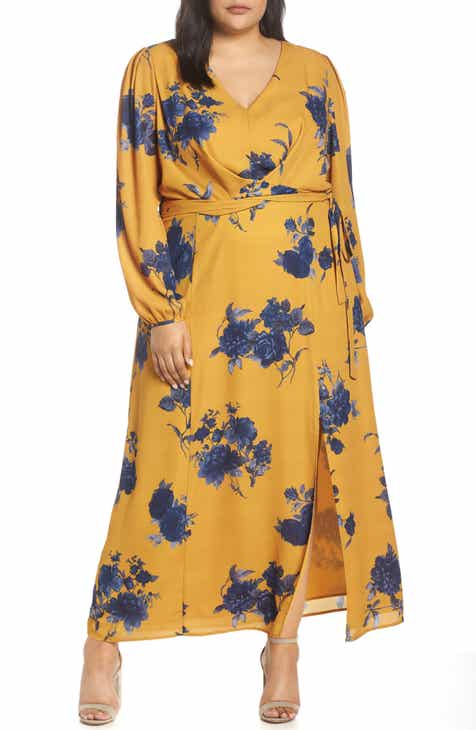 962005b0dec17 Chelsea28 Floral Print Faux Wrap Maxi Dress (Plus Size)