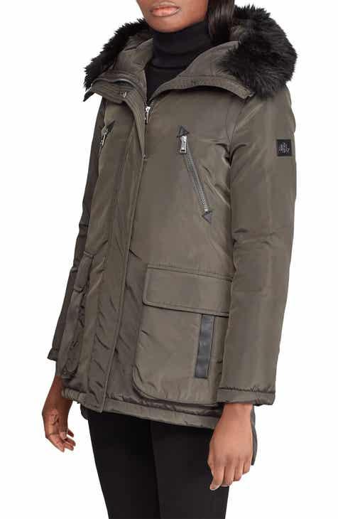 0ce1ac18dcea Lauren Ralph Lauren Faux Fur Trim Hooded Coat