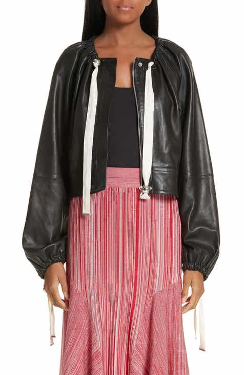 Yigal Azrouël Ruched Neck Leather Jacket by Yigal Azrouel