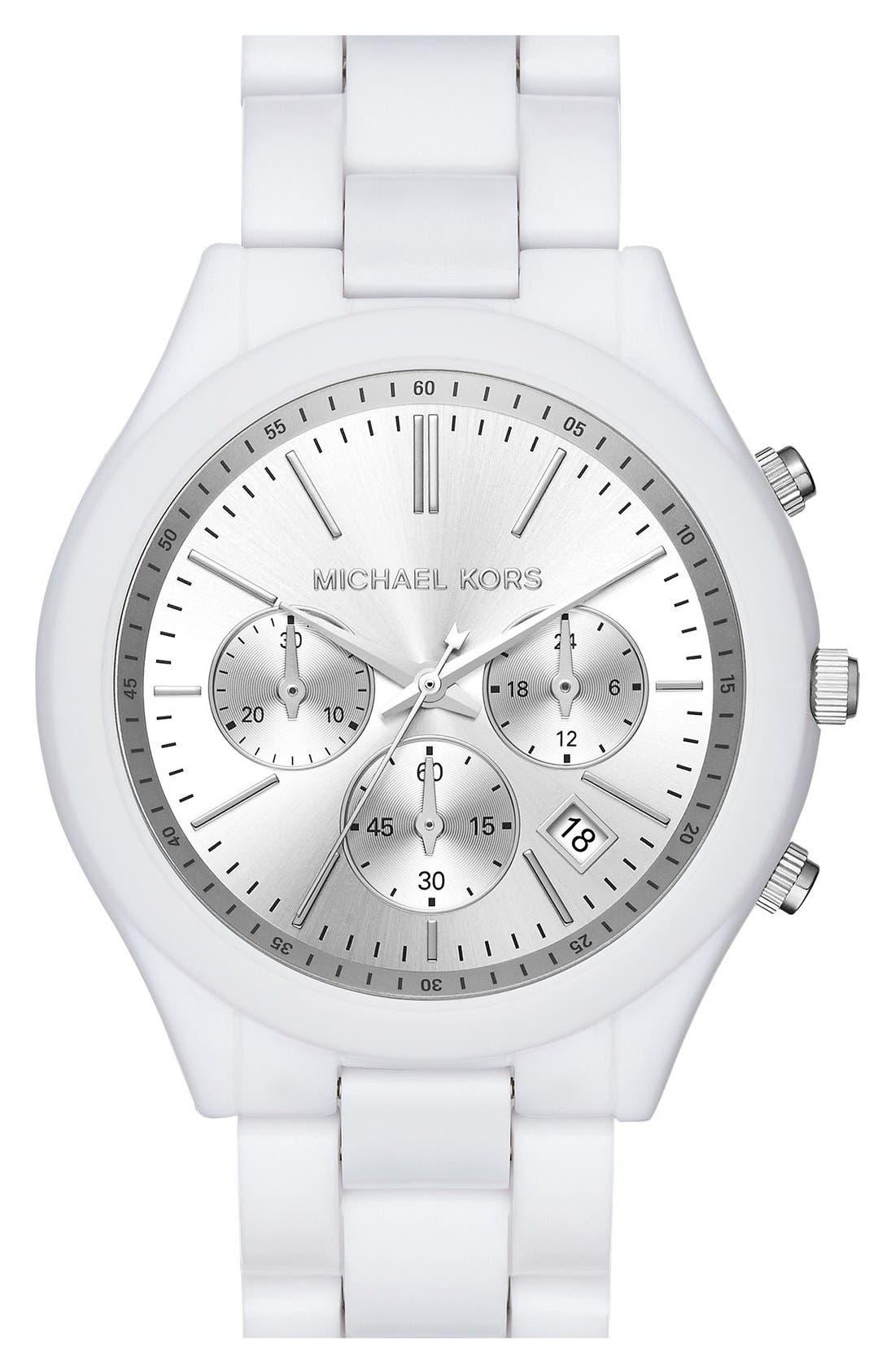 Alternate Image 1 Selected - Michael Kors 'Slim Runway' Chronograph Bracelet Watch, 42mm (Nordstrom Exclusive)