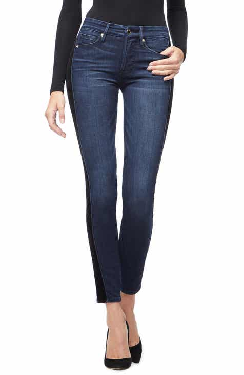 278a7e1605c Good American Good Waist Velvet Tuxedo Stripe Skinny Jeans (Blue 210)  (Regular   Plus Size)
