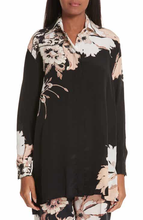 3ec78ba8571 Etro Floral Print Silk Tunic Top