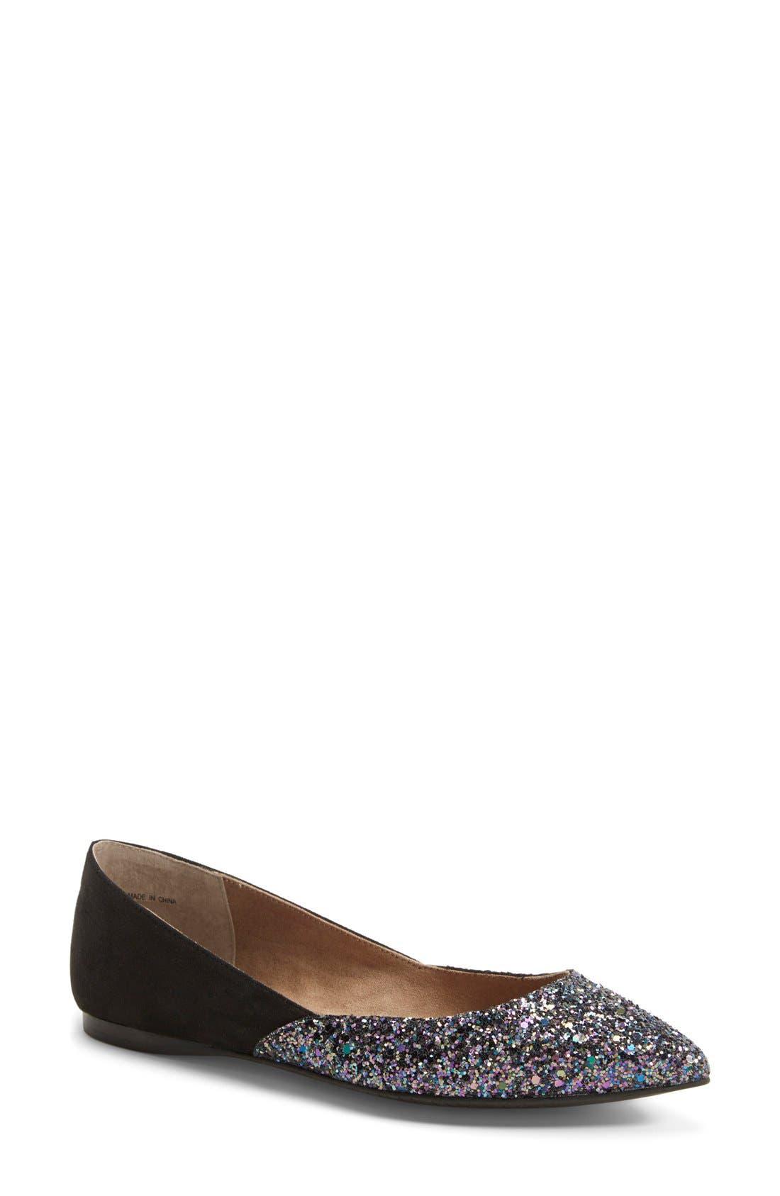 'Doubletime' Pointy Toe Flat,                         Main,                         color, Black Glitter