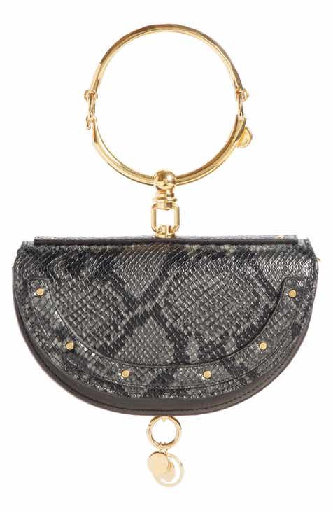 Chloé Nile Bracelet Snake Embossed Leather Minaudière