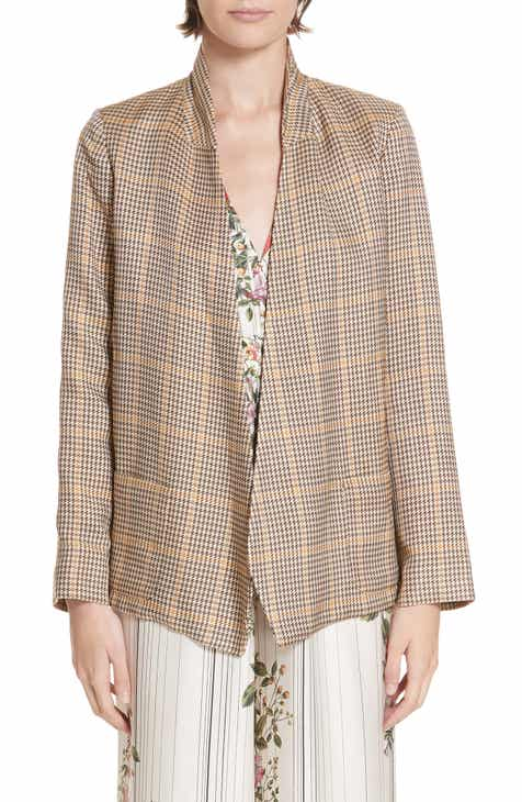 Akris Windowpane Plaid Double Breasted Crepe Jacket by AKRIS