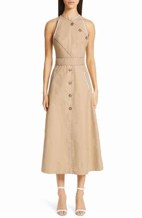 Lela Rose Twill Halter Trench Dress by LELA ROSE