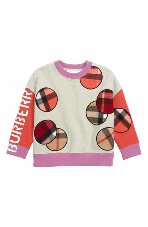 a2bc7ac88e5f4 Burberry Check Appliqué Sweatshirt (Toddler Girls