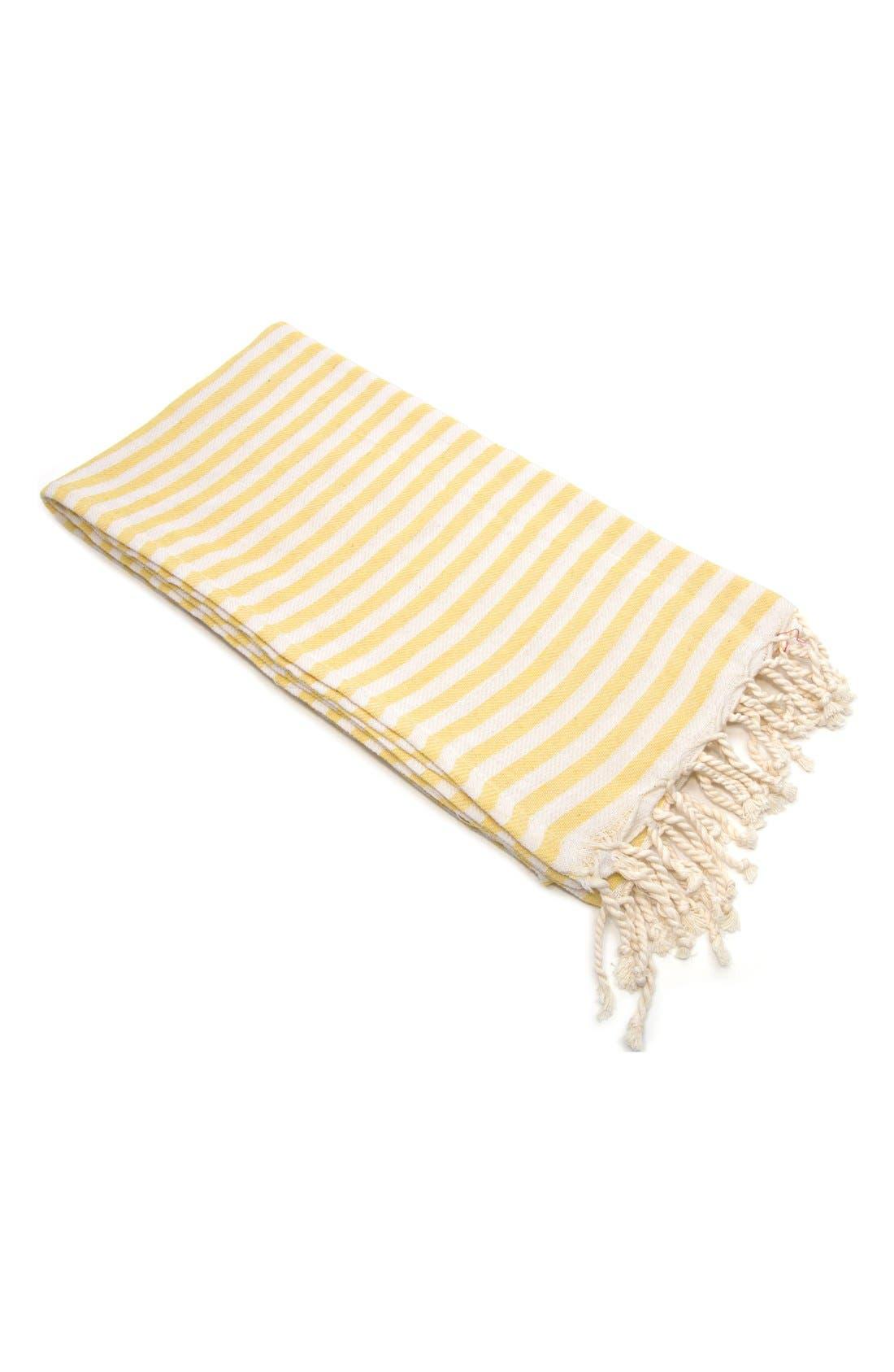 'Fun in the Sun' Turkish Pestemal Towel,                             Main thumbnail 1, color,                             Sunshine Yellow
