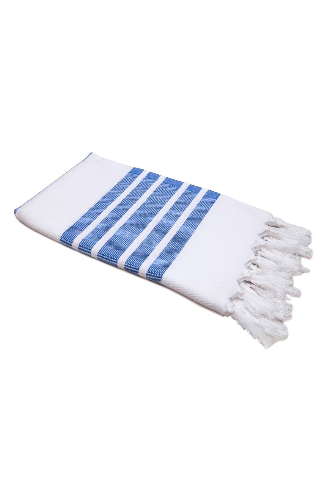 Herringbone Striped Turkish Pestemal Towel,                         Main,                         color, Royal Blue/ White