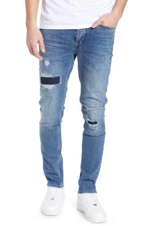 1d727bada39 Topman Patchy Stretch Skinny Jeans