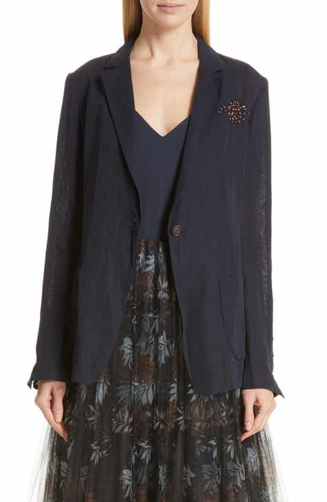 Brunello Cucinelli Beaded Cotton Voile Jacket by BRUNELLO CUCINELLI
