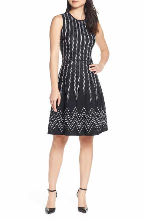 b33bf52d96199 Eliza J Dot Pattern Fit   Flare Sweater Dress (Regular   Petite)