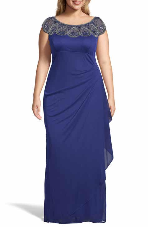 e294d0bb05e Xscape Beaded Neck Empire Gown (Plus Size)