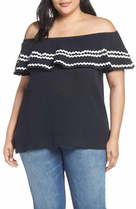 4a4c59bd7fccf Santa Fe Rickrack Off the Shoulder Top (Plus Size) (Nordstrom Exclusive)