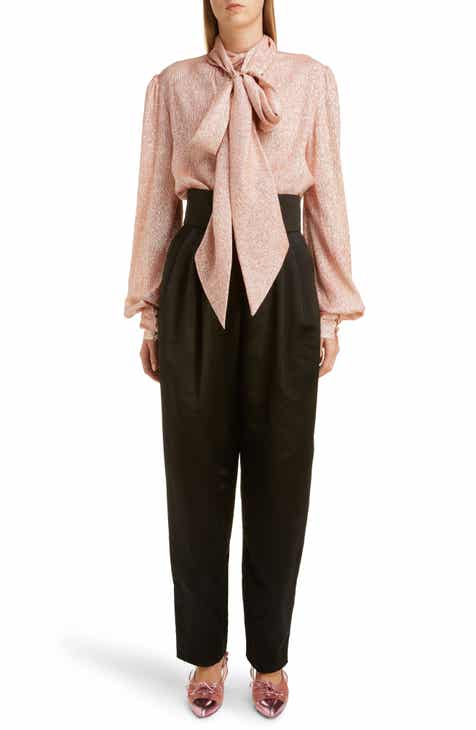 927e2ebc5c0648 MARC JACOBS Tie Neck Lamé Blouse