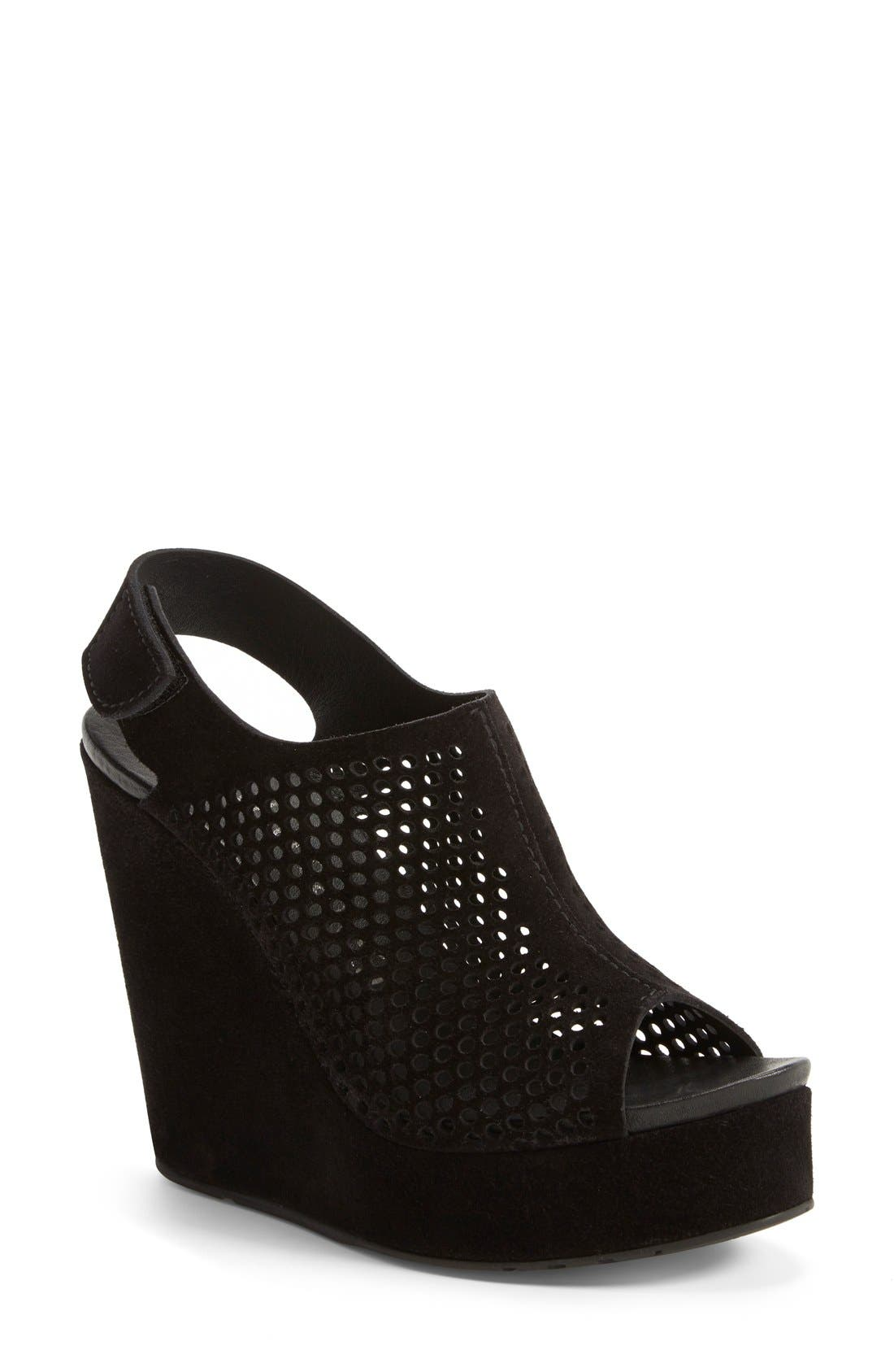 'Tonya' Perforated Wedge Bootie,                         Main,                         color, Black