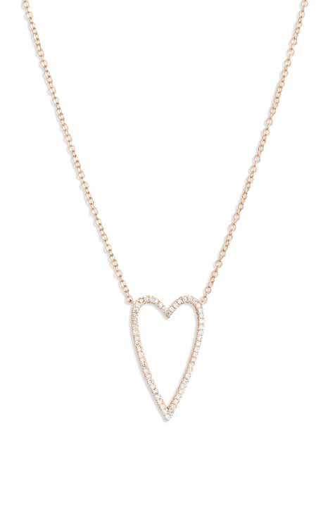 Bony Levy Large Diamond Open Heart Pendant Necklace (Nordstrom Exclusive)
