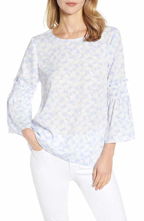Chaus Bell Sleeve Ginkgo Overlays Georgette Blouse