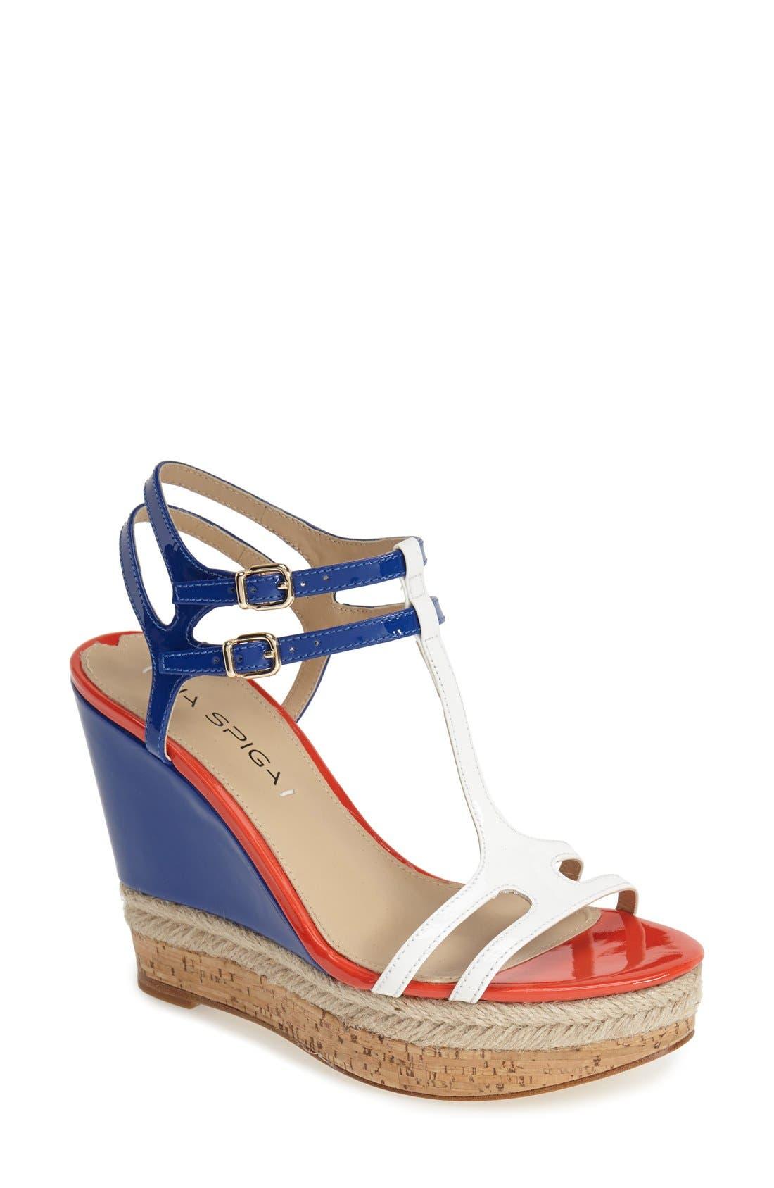 Alternate Image 1 Selected - Via Spiga 'Meza' Leather Dual Ankle Strap Platform Wedge (Women) (Nordstrom Exclusive)