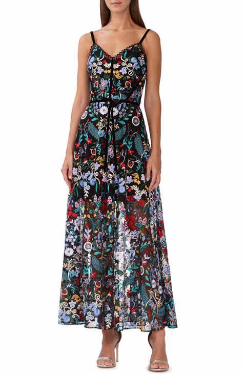 bda03601242f ML Monique Lhuilier Floral Embroidered Mesh Dress