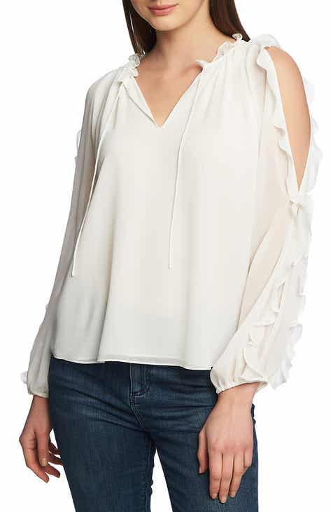 1442cc45d95ed STATE Ruffle Cold Shoulder Top