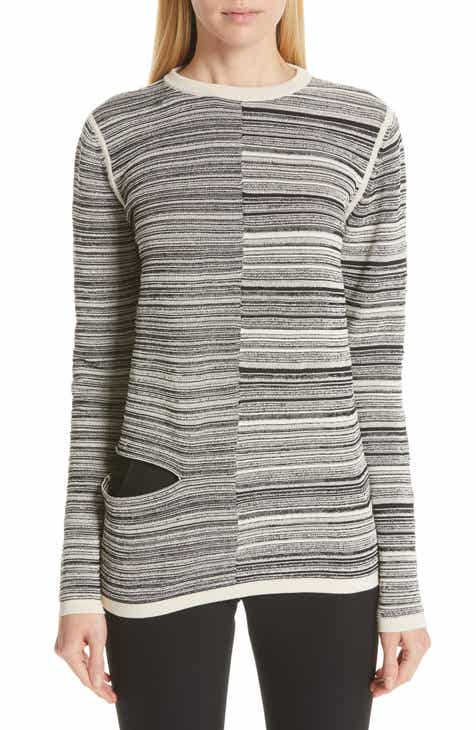 Rick Owens Split Stripe Shred Detail Cotton Blend Sweater By RICK OWENS by RICK OWENS Herry Up
